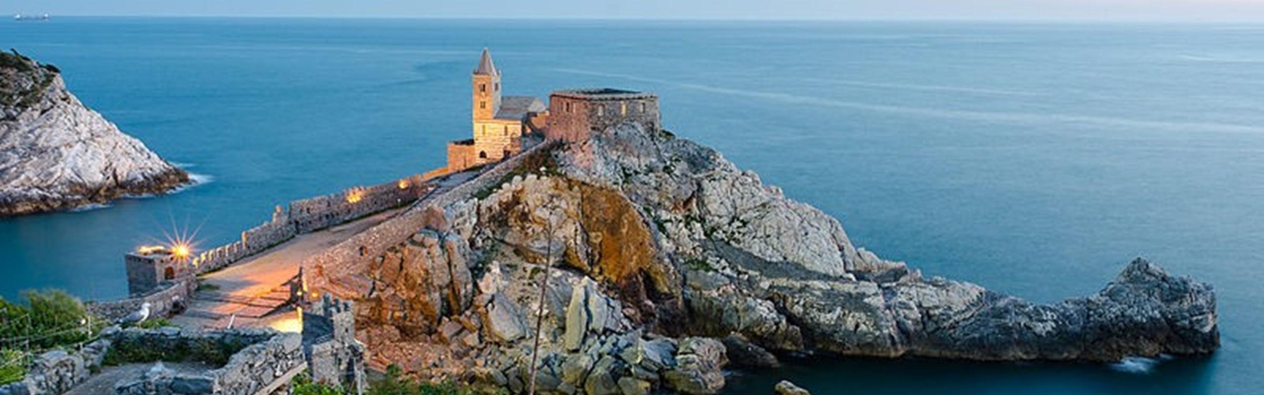 Lunigiana Chiesa Di San Pietro Porto Venere Cinque Terre Tramonto Edit